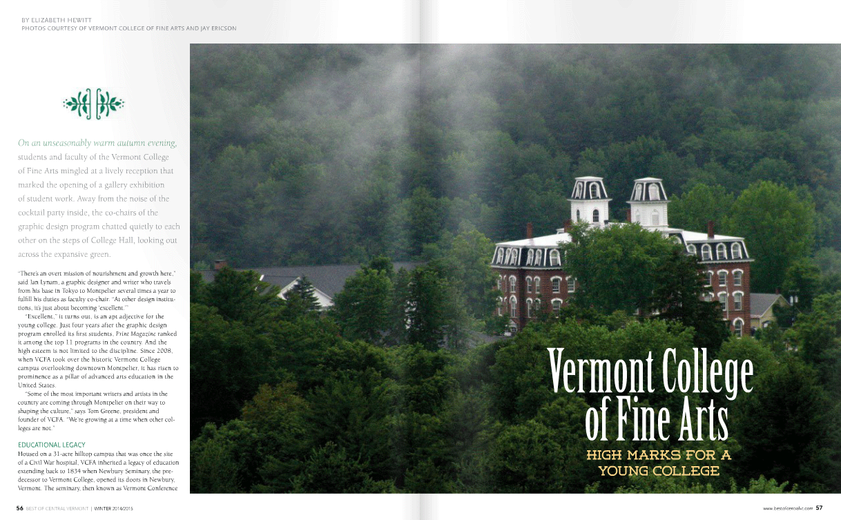 VCFA in Best of Central Vermont