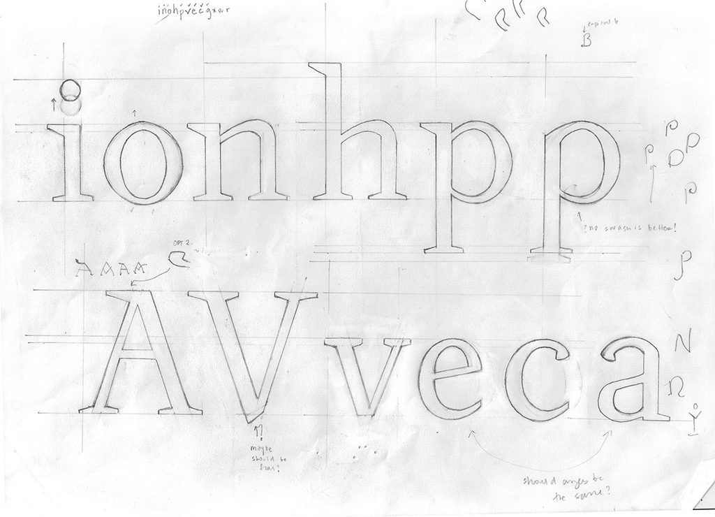 Drawings for Laura Rossi Garcia's Irene Typeface