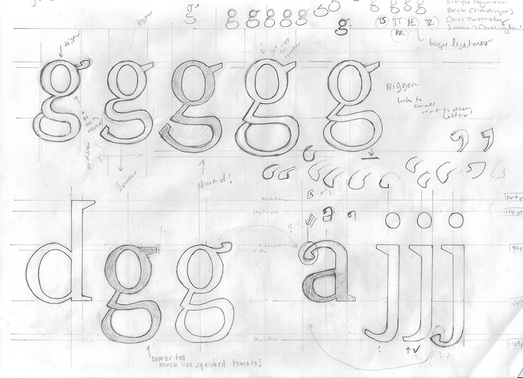 Drawings for Laura's typeface Irene