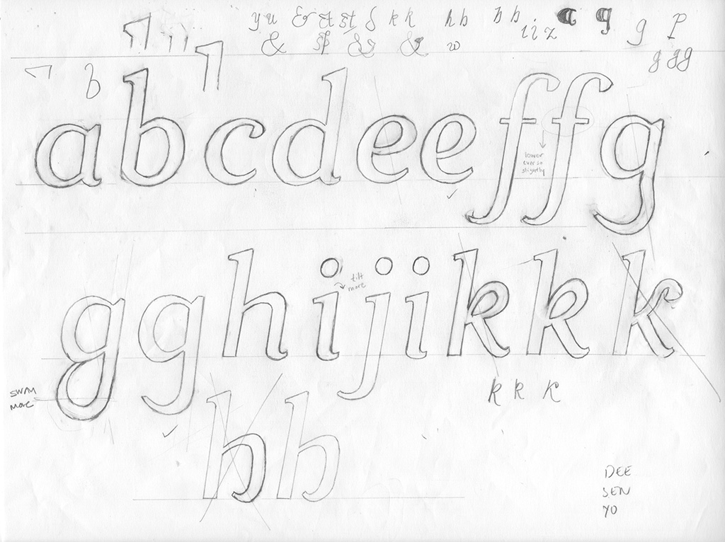 Working drawings for Irene Italic