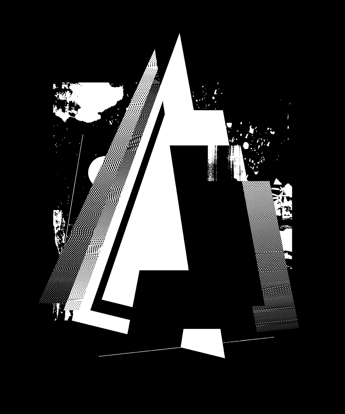 A-Initial: Collage, combining alphabetic fragments and grafic images with screen structures