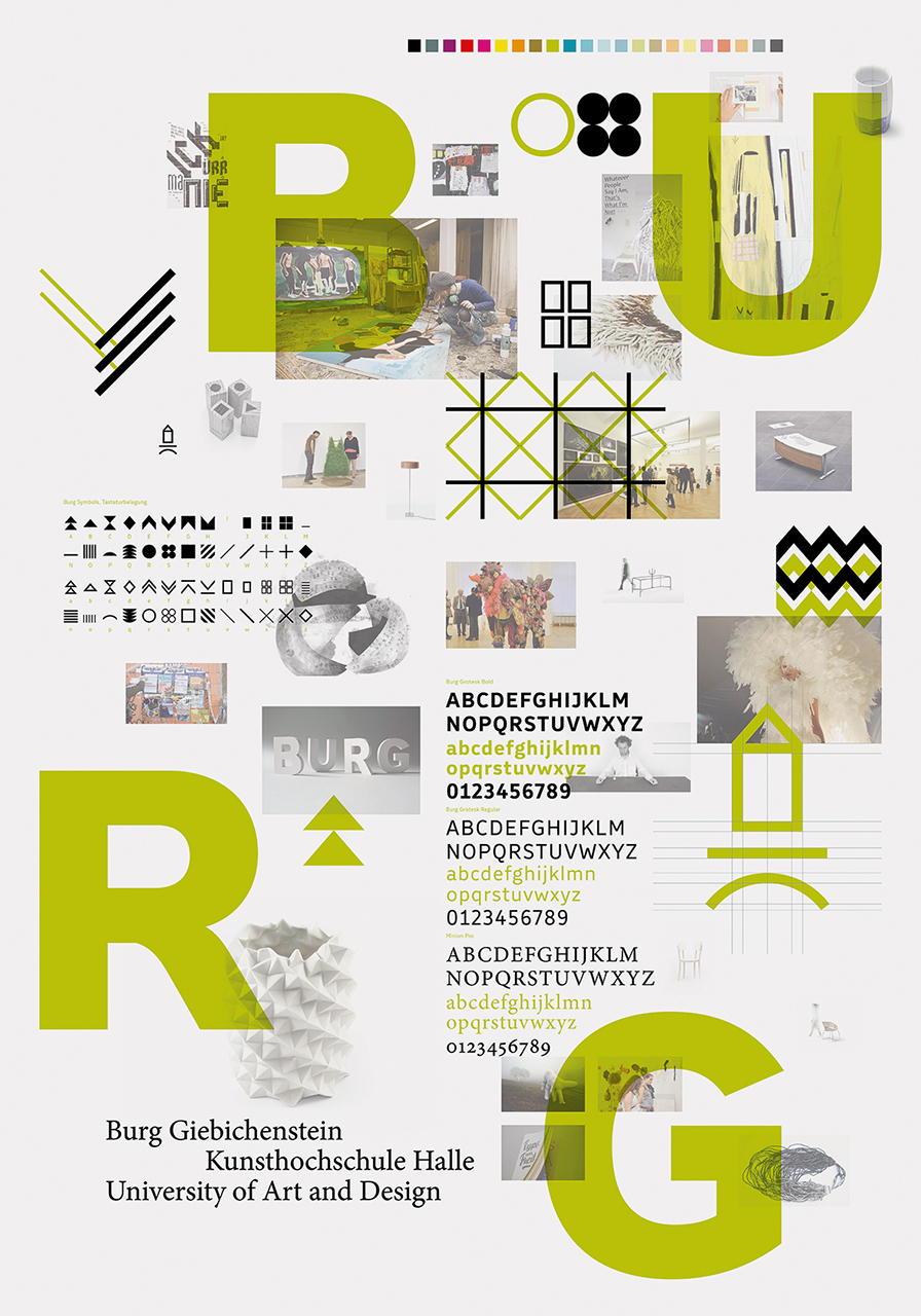 Poster featuring all the elements Burg Giebichenstein's visual identity Design: Anja Kaiser and Andrea Tinnes