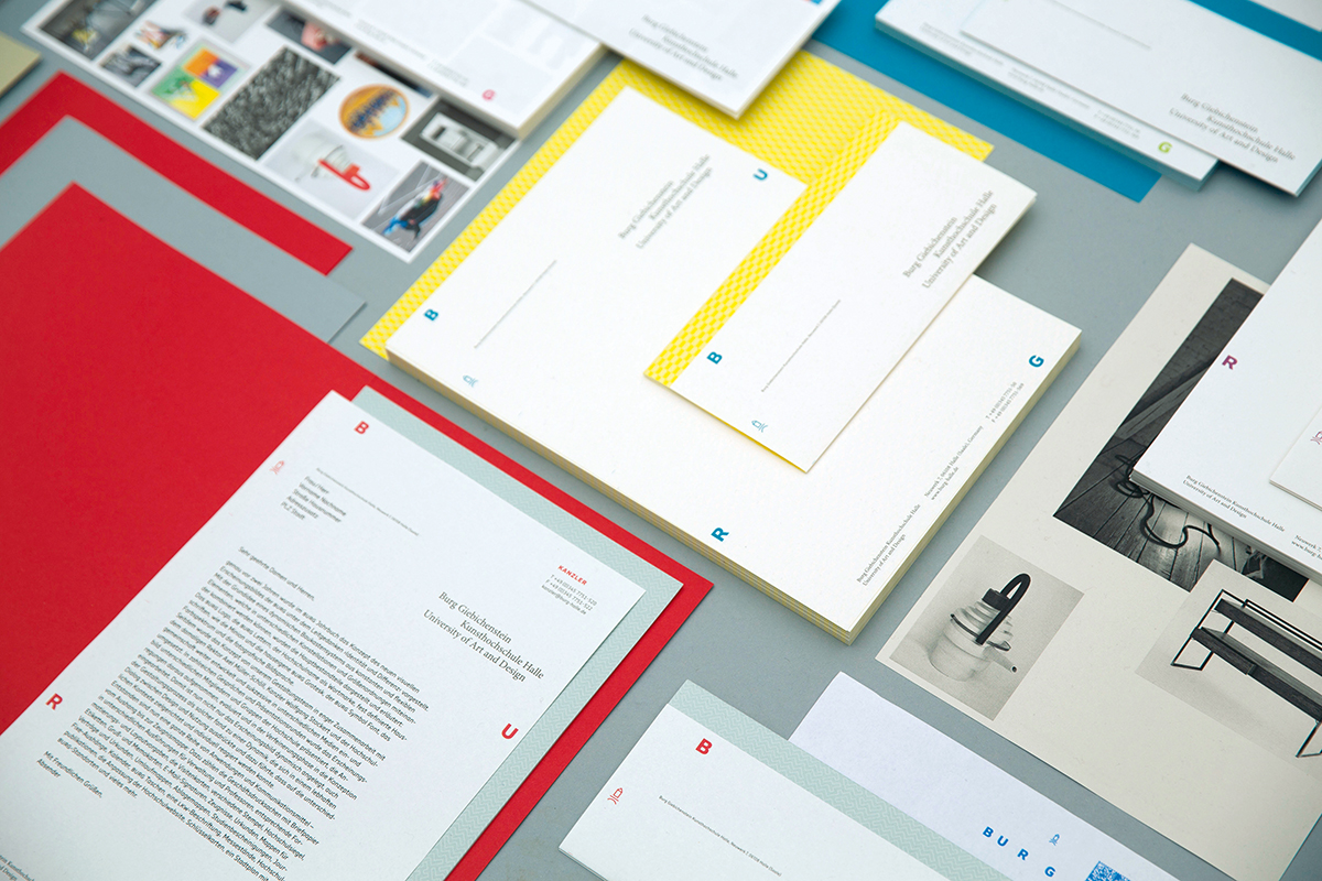 Visual identity of Burg Giebichenstein University of Art and Design Halle Concept and design: Wolfgang Hückel, Wolfgang Schwärzler, Anja Kaiser and Andrea Tinnes Photos and Set Design by Sanna Schiffler and Judith Will, supported by Matthias Ritzmann