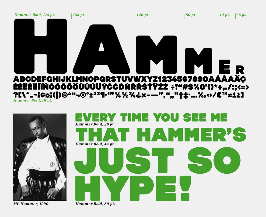 One of the studio's bespoke typefaces, Hammer Bold.