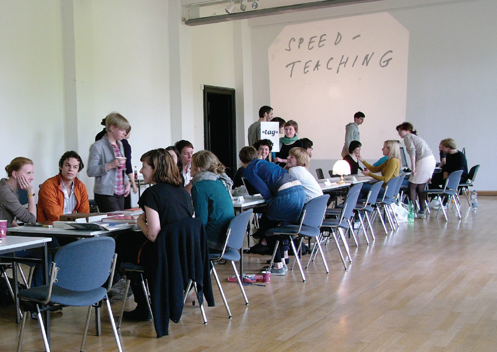 """I experiment with forms of teaching – or the generation of knowledge and its distribution. This is 'Speed-Teaching', a format in which roles are reversed and students become teachers and vice versa. It's a great emancipatory and fun way of sharing knowledge. I've done it in different variations in London, Leipzig and Bratislava. It borrows its setting, as the name suggests, from speed-dating."""