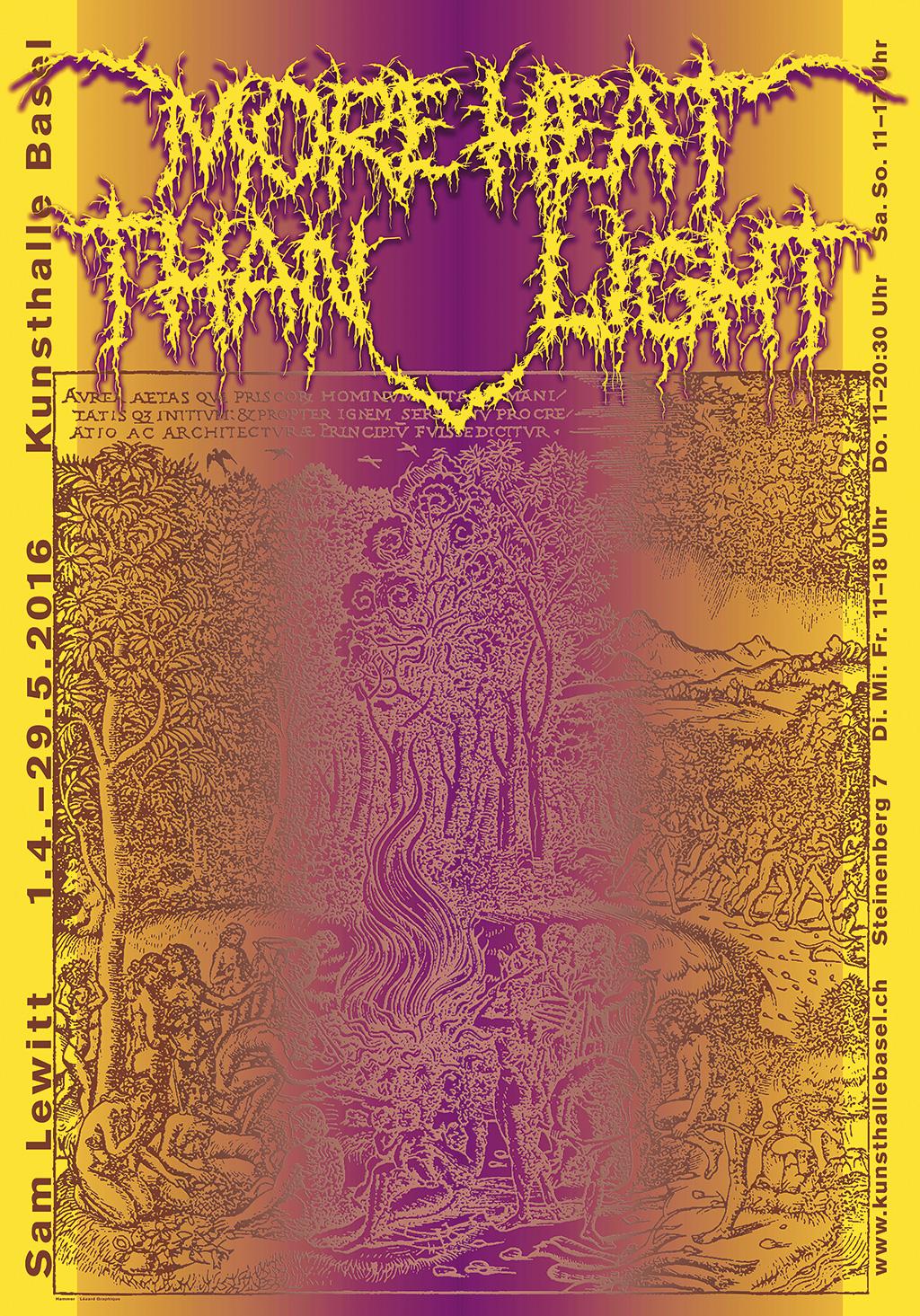 """Hammer's poster for Sam Lewitt """"More Heat Than Light"""" at Kunsthalle Basel"""
