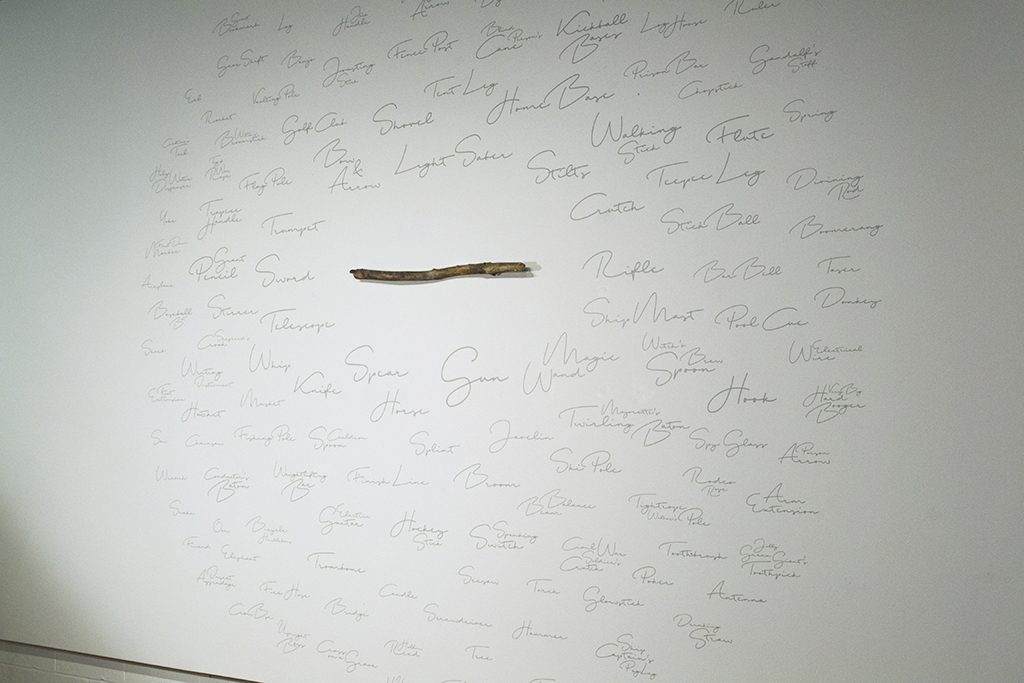 Installation showing one-half of the ten-foot by twenty-foot wall including the mounted stick and applied vinyl lettering.