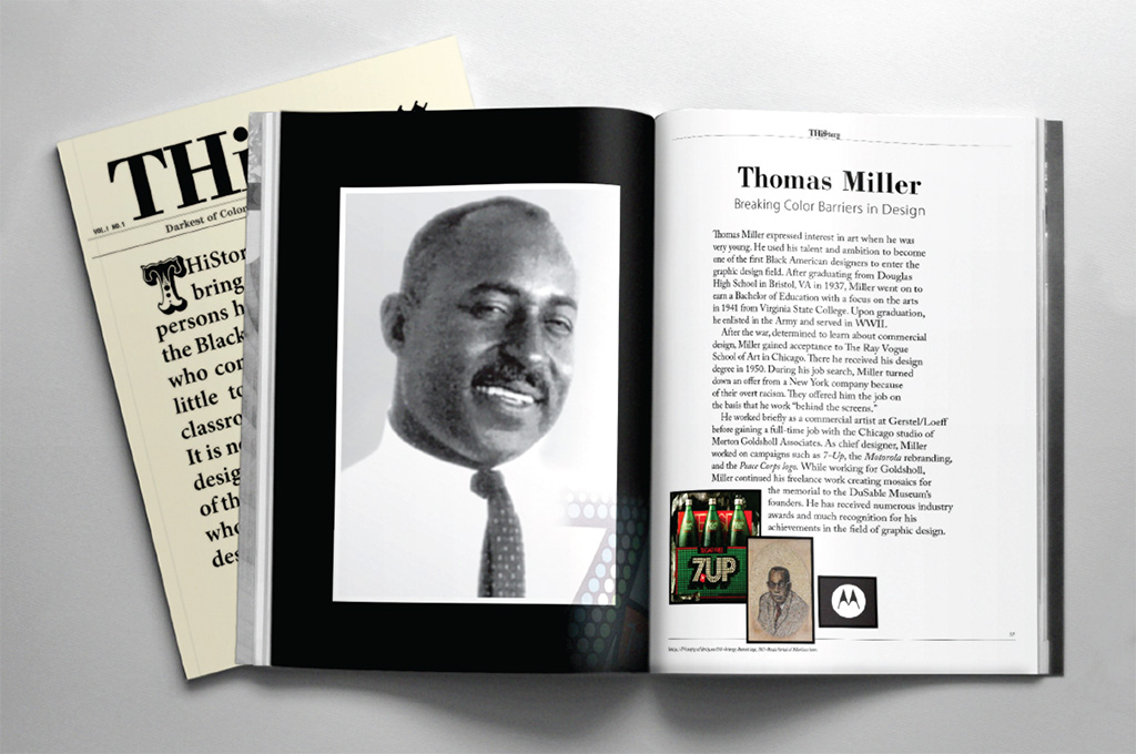 Cover design for my book, THiStory, and an inside spread featuring Thomas Miller.