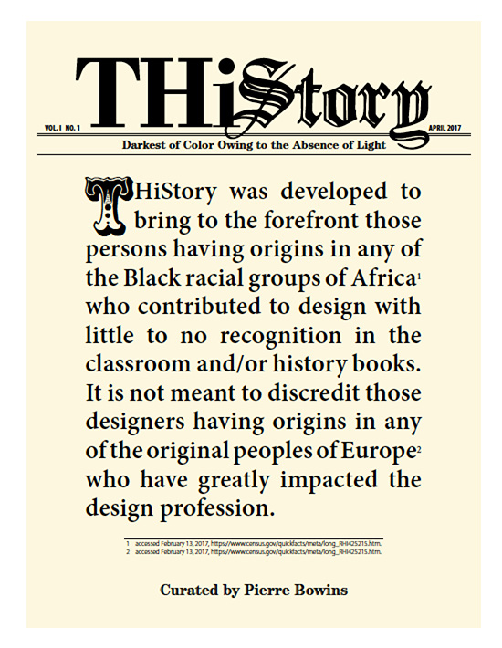 Cover design for my book, THiStory, developed to bring to the forefront Black American designers of the 20th century and their contributions to design.