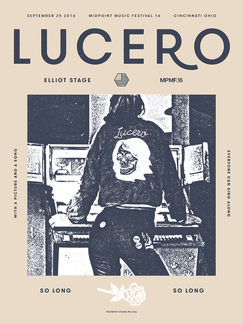"Lucero Gig Poster I have always enjoyed this band and was asked to do a poster for them at 2016's Mid Point Music Festival in Cincinnati, Ohio. I wanted to concept the poster after their newest album and one song in particular ""Went Looking For Warren Zevon's Los Angeles."""