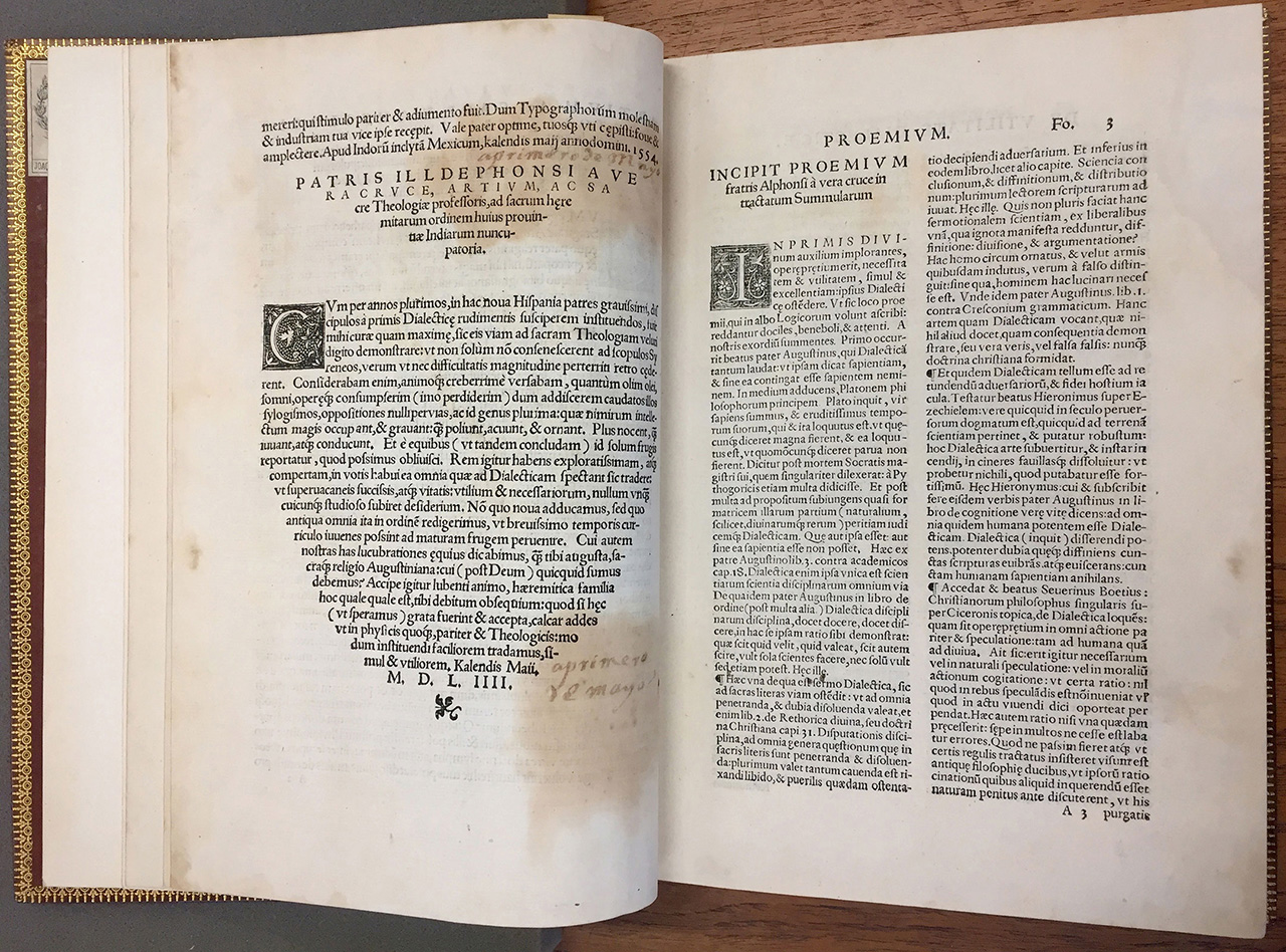 Alonso de la Vera Cruz, Resolutio cum texto Aristotelis… 1554, Juan Pablos Printing House. The first study of Aristotle published in the New World.