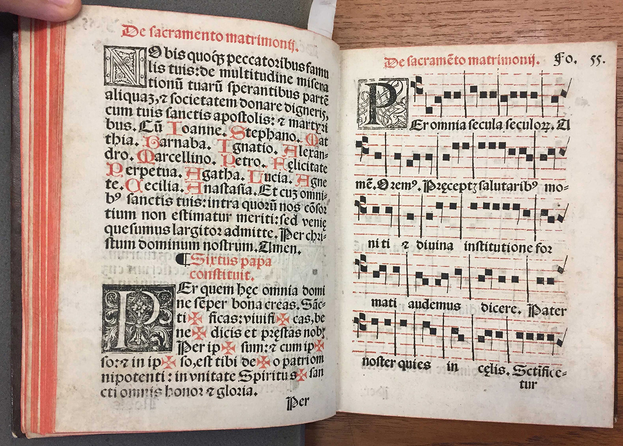 Manual use of the sacraments, according to the Mexican Church… 1560, Juan Pablos Printing House. The second book with music to be printed in the New World.