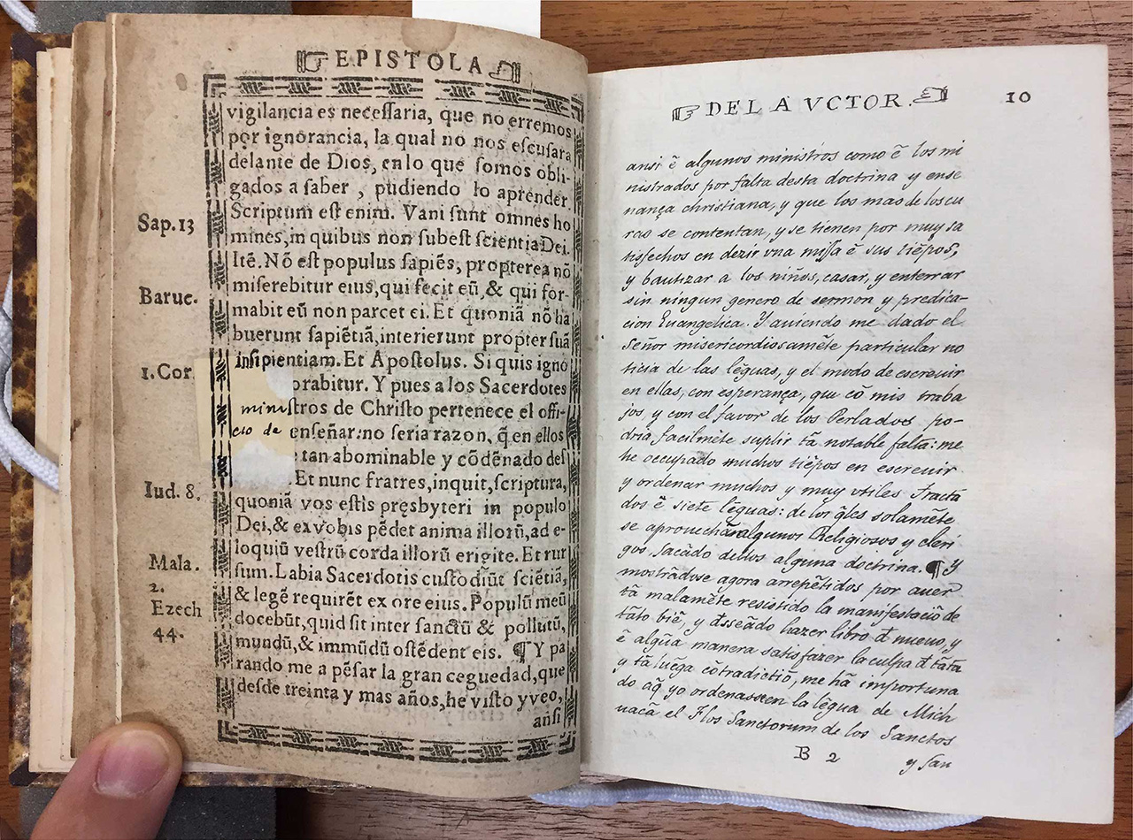 (Fig 06, Spiritual Treasure of the Poor in Language of Michoacan) It is worth noting the effort to preserve the integrity of the book throughout time; some pages have been entirely replicated dutifully by hand, while restorations have been made to missing segments of some pages.
