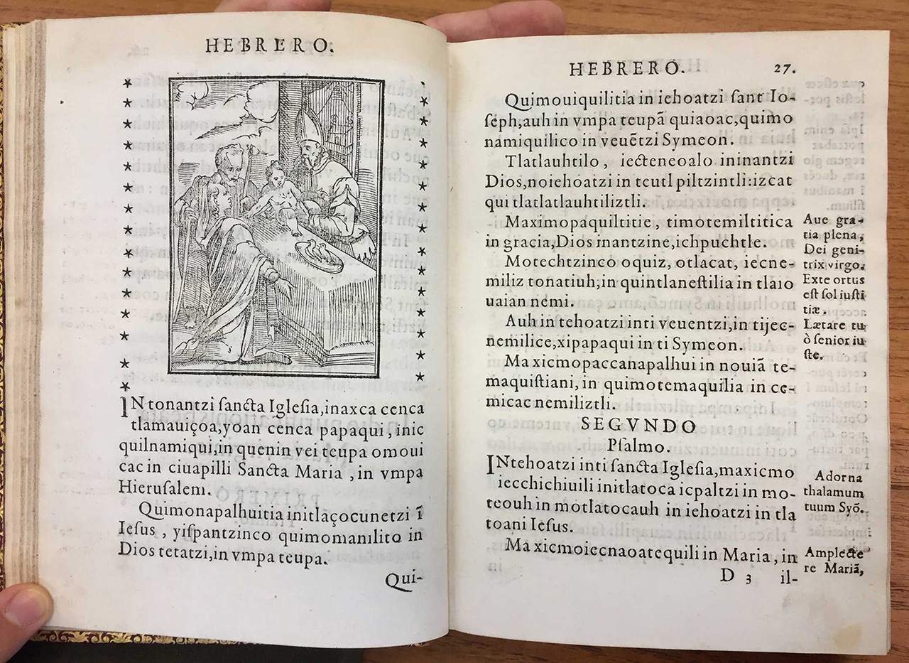 (Fig 09 Christian Psalmody, and Sermons of the Saints of the Year, in Mexican Language) Both this Náhuatl text and the book described before (in Purépecha) shows an abundance of letters 'i', which would result in a text color different from one obtained from Latin and Spanish texts; soon enough, the copious linguistic differences of the native languages would generate considerations for typefaces fit for each case, just like in Europe typographers cared to cast typefaces that would make printed justice to their national idioms.