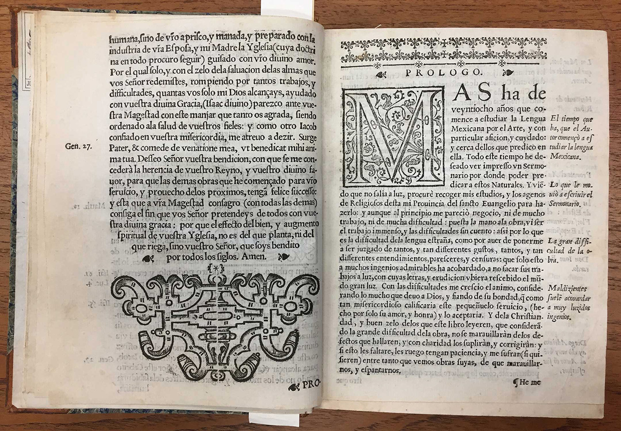 (Fig 10) Spread from Sermons in Mexican Language, 1606. Printing House of Diego López Dávalos. Not strictly an incunable volume, but still printed within the first century of printing in the Americas.