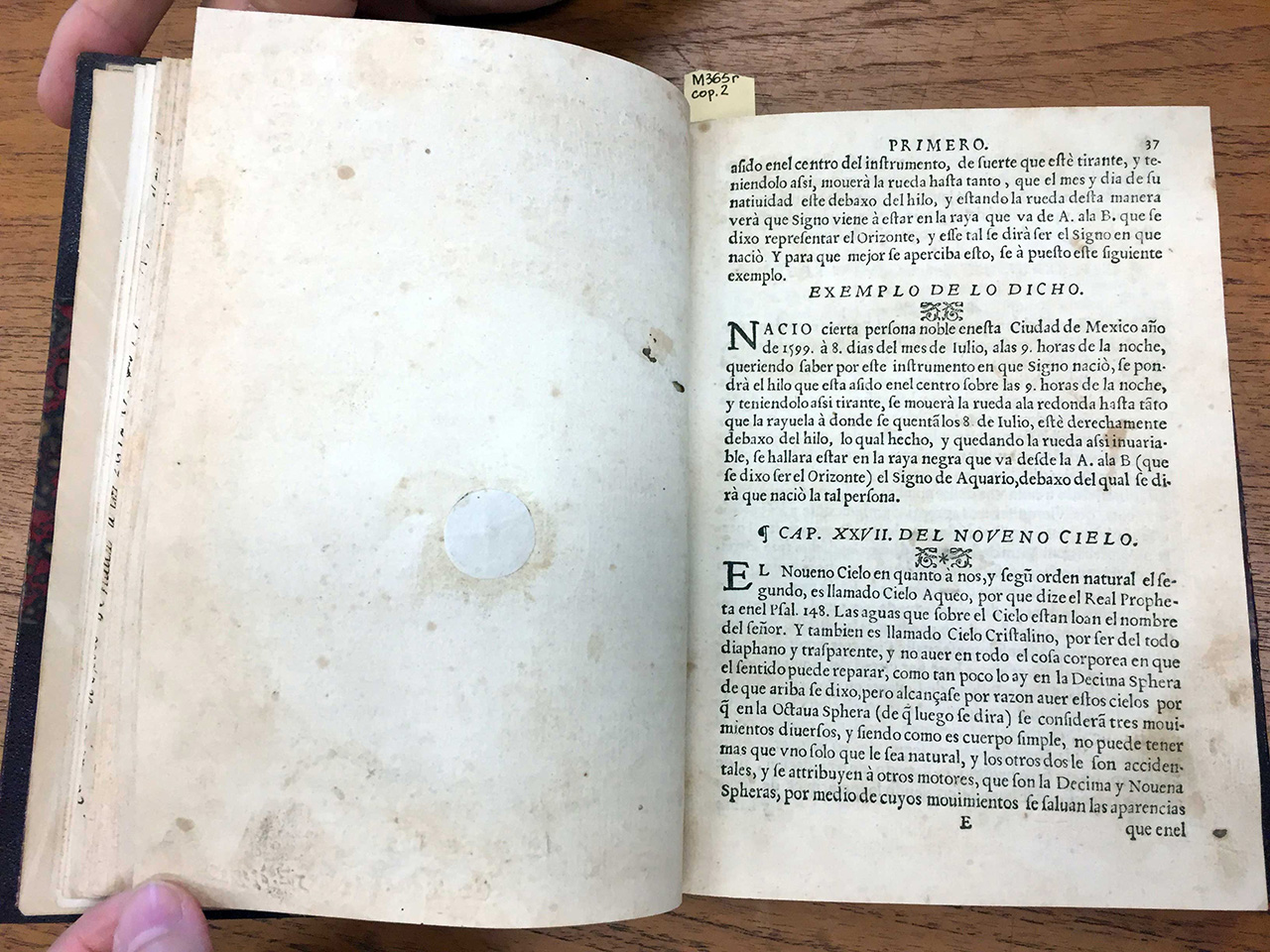(Figs 11 & 12) Henrrico Martínez, Repertoire of the Times, and Natural History of this New Spain, 1606. Printed in the author's own Printing House. Front and back of page with horoscope artifact, which skipped a page number.
