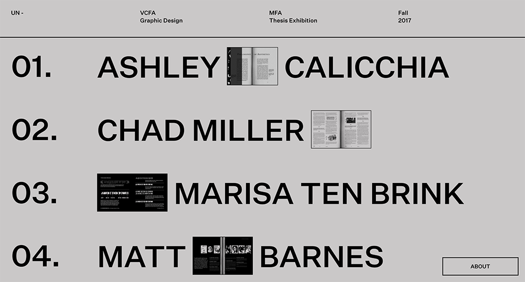 VCFA MFA in Graphic Design Fall 2017 Thesis website launched