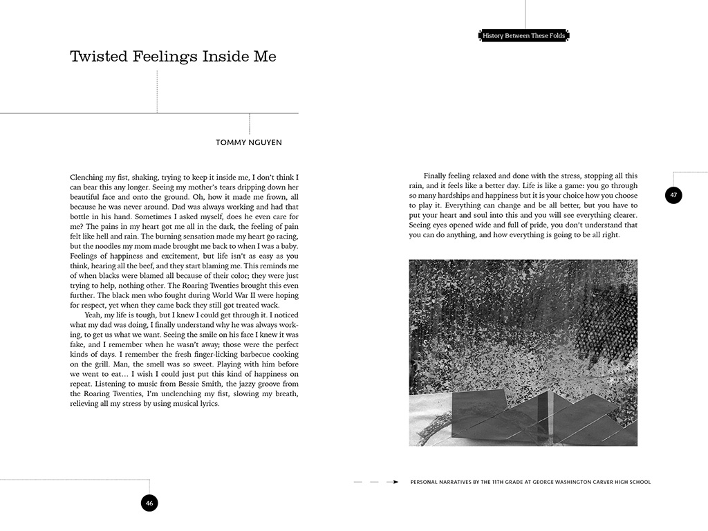 Book Spread: History Between the Folds, 2017. All artwork created by Tasheka Arceneaux Sutton