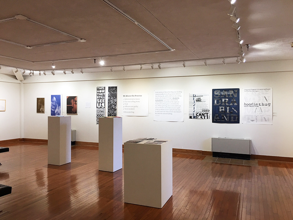 The exhibition Design Connection at Mosely Gallery at the University of Maryland Eastern Shore. Artwork in the show includes Tasheka Arceneaux Sutton's projects Krewe, Black Lives Matter Too and If Hannah Hoch was Black What Would Her Work Look Like.