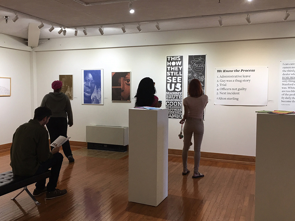 Design Connection exhibition at Mosely Gallery at the University of Maryland Eastern Shore. Artwork in the show includes Tasheka Arceneaux Sutton's Krewe, Black Lives Matter Too and If Hannah Hoch was Black What Would Her Work Look Like.